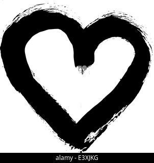 Abbildung eines bemalten Grunge Stil Herzens - Stockfoto