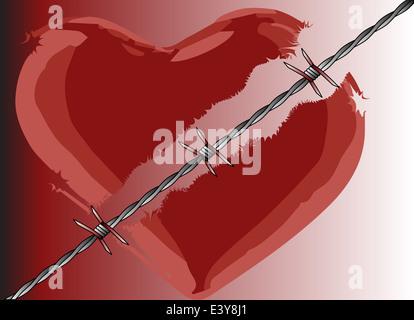 Ein gebrochenes Herz mit Stacheldraht geteilt - Stockfoto