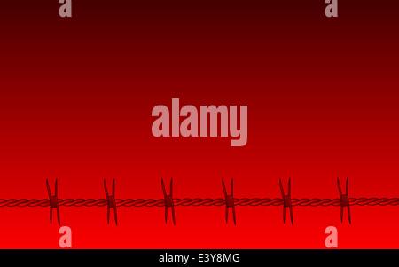 Ein roter Stacheldraht Abschnitt Hintergrund rot verblasst - Stockfoto