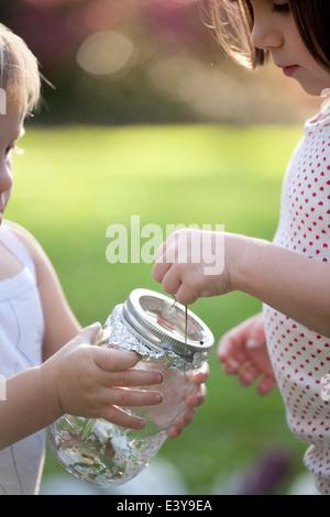 Mädchen und Kleinkind Schwester grüne Anole Eidechse in Glas setzen - Stockfoto