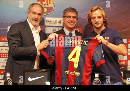 1. Juli 2014 - Barcelona, Spanien - BARCELONA / Spanien Juli -1. Andoni Zubizarreta und Jordi Mestre in der Präsentation - Stockfoto