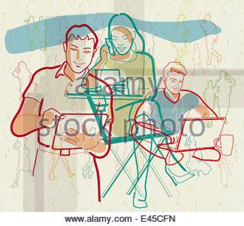 Menschen kommunizieren per Funk-Technologie - Stockfoto