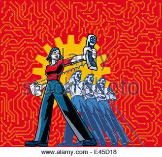 Geschäftsfrau mit Telefon in ausgestreckten Hand stehend aus Zeile von Geschäftsleuten auf Handy - Stockfoto