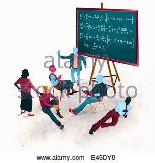 Geschäftsmann, internationale Finanzen Gleichungen gelangweilte Publikum zu erklären - Stockfoto