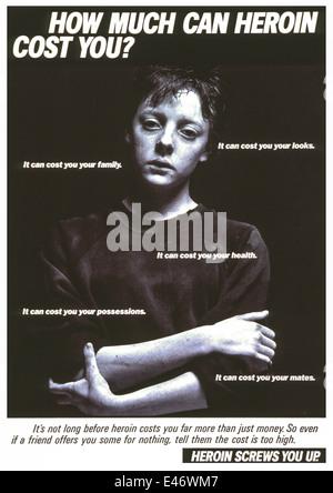 Bestandteil der 'Heroin Schrauben Sie Up' Sensibilisierungskampagne. 1986-Poster mit einem jungen männlichen Süchtigen. - Stockfoto