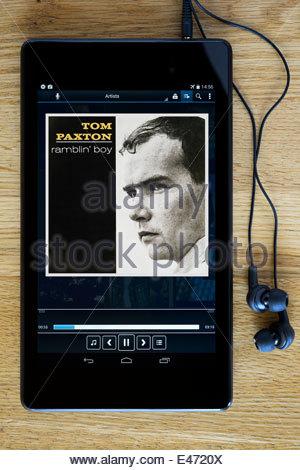 Tom Paxton 2. Album Ramblin' Boy, MP3 Album-Cover auf PC Tablet, England - Stockfoto