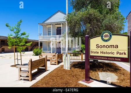 Sonoma State Historic Park in der Innenstadt von Sonoma, Sonoma Valley, Wine Country, California, USA - Stockfoto