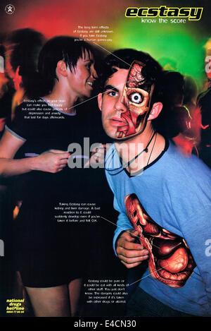 """Plakat von der nationalen Drogen Helpline 1998 """"Wissen der Partitur"""" Sensibilisierungskampagne. Siehe Beschreibung - Stockfoto"""