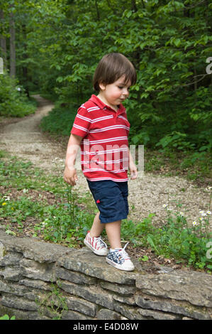 Drei Jahre alten Jungen zu Fuß auf der Steinmauer im Frühjahr Mill State Park in Indiana - Stockfoto