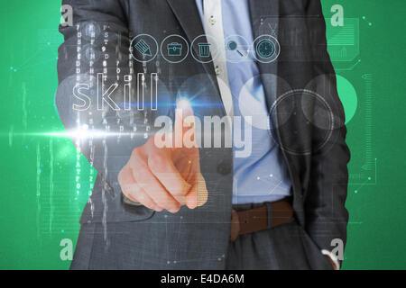 Kaufmann, berühren die Wort-Fertigkeit auf Schnittstelle - Stockfoto