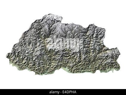 Bhutan, Reliefkarte - Stockfoto