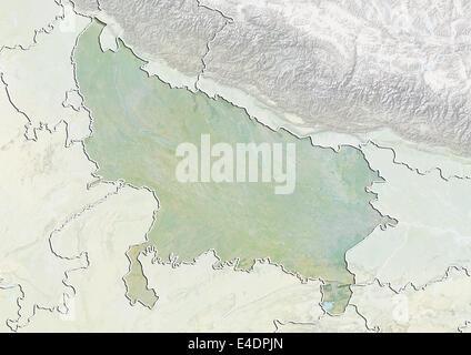 Bundesstaat Uttar Pradesh, Indien, Reliefkarte - Stockfoto