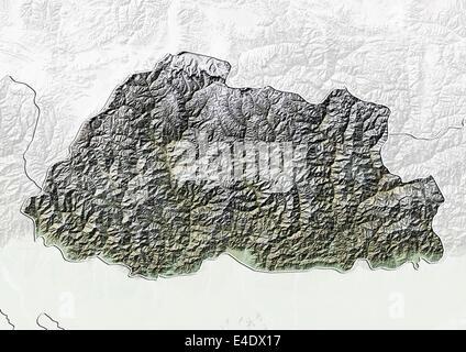 Bhutan, Reliefkarte mit Rand und Maske - Stockfoto