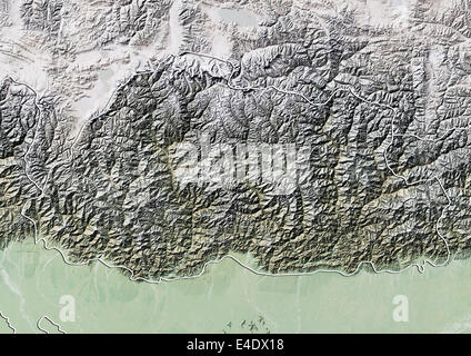 Bhutan, Reliefkarte mit Rand - Stockfoto