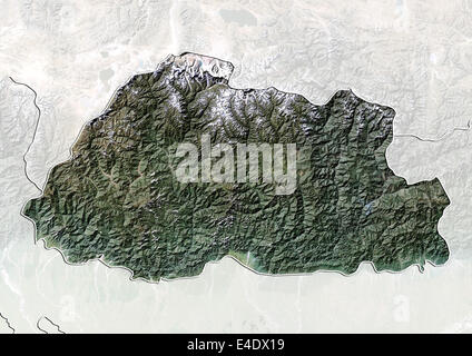 Bhutan, Satellitenbild mit Relief-Effekt, mit Rand und Maske - Stockfoto