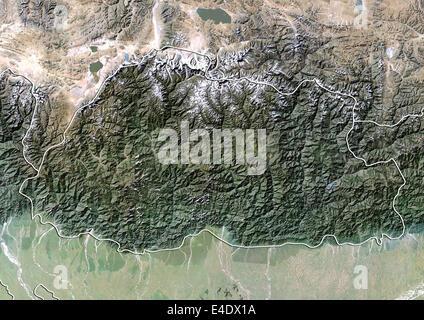 Bhutan, Satellitenbild mit Relief-Effekt, mit Rand - Stockfoto