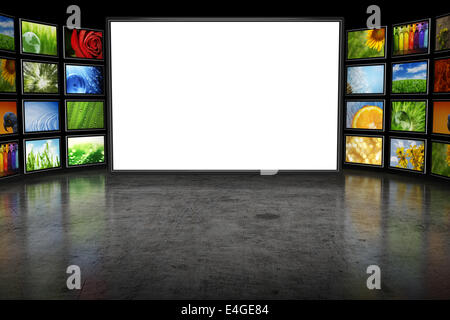 TV-Screeen mit Bildern - Stockfoto