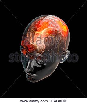 Beleuchtete Aktivität aus roten menschlichen Gehirns in transparenter Kopf - Stockfoto