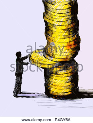Geschäftsmann, die Mitte des Stapels Münze entfernen - Stockfoto