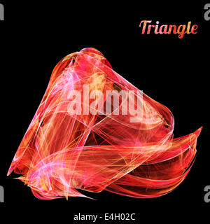 Abstrakt rot Fraktale Dreieck auf schwarzem Hintergrund - Stockfoto
