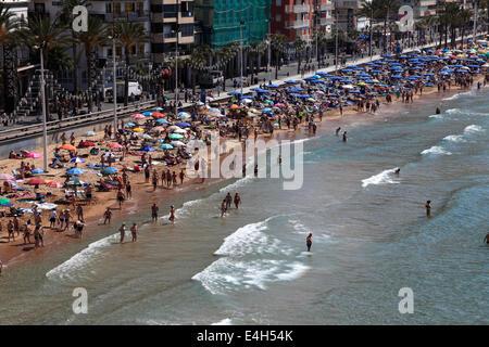 Blick auf Playa De Levante Strand, Benidorm Resort, Costa Blanca, Provinz Valencia, Spanien, Europa. - Stockfoto