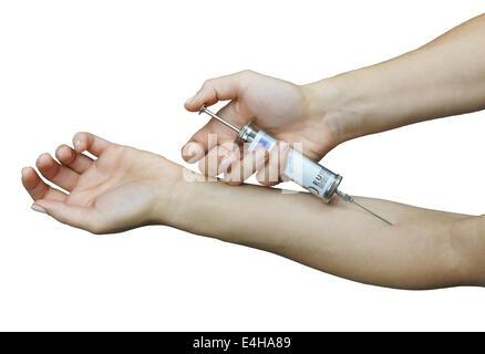 Die Krankheit wird durch die Injektion von Euro behandelt. - Stockfoto