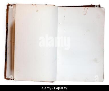 Altes öffnen Buch mit leeren Seiten isoliert auf weiss mit Beschneidungspfad - Stockfoto