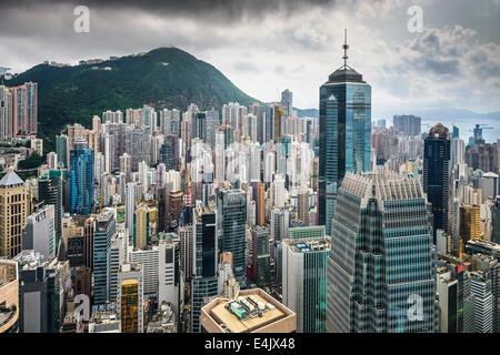 Hong Kong, China Luftaufnahme des Stadtbildes im Victoria Harbour.