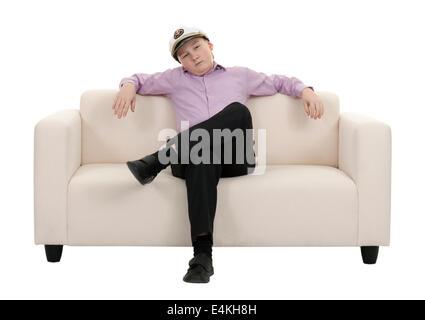 Ernste junge trägt einen Mütze Kapitän - Stockfoto