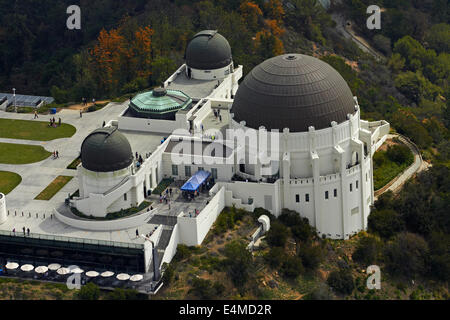 Griffith Observatory, Griffith Park, Mount Hollywood, Los Angeles, Kalifornien, USA - Antenne - Stockfoto