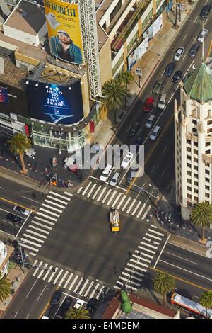 Kreuzung am Hollywood Boulevard, Hollywood, Los Angeles, Kalifornien, USA - Antenne - Stockfoto