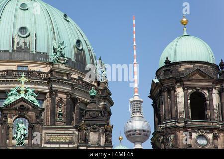 Deutschland, Berlin, Mitte, Museumsinsel, Dom mit Fernsehturm Fernsehturm hinter. - Stockfoto