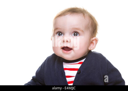 Porträt der schönen glückliches Babymädchen in blau weiß roten Outfit isoliert - Stockfoto