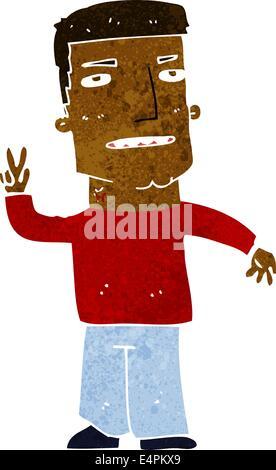Karikatur Mann mit Peace-Zeichen - Stockfoto