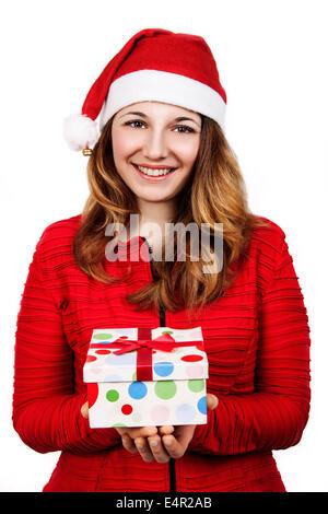 Weihnachten, Glück Konzept - lächelnde Frau in Helfer Weihnachtsmütze mit vielen Geschenk-Boxen - Stockfoto