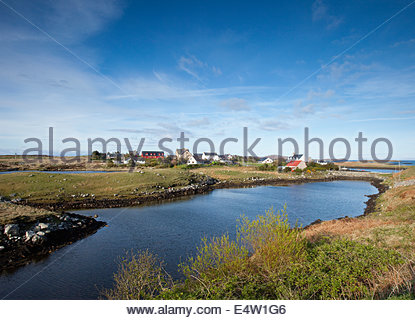 Auf Lochmaddy, das administrative Zentrum und Fährhafen auf der Küste von North Uist, äußeren Hebriden, Schottland. - Stockfoto
