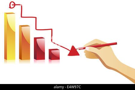 Handzeichnung ein Ausfall-Diagramm. - Stockfoto
