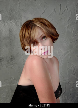 schöne Frau in einem melancholischen - Stockfoto