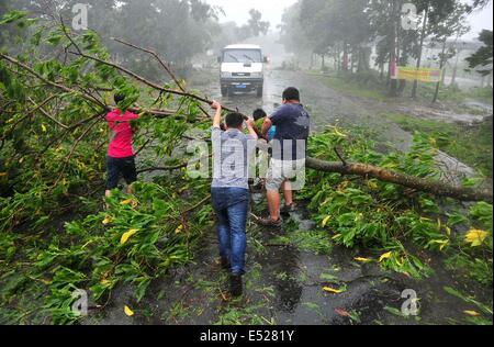 Wenchang, Chinas Provinz Hainan. 18. Juli 2014. Bürgerinnen und Bürger versuchen, einen umgestürzten Baum auf der - Stockfoto