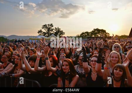 BOLKÓW, Polen - 19. Juli 2014: Publikum des dunklen independent Festival Castle Party. - Stockfoto