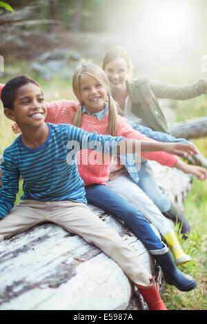 Schüler und Lehrer sitzen auf melden Sie sich im Wald