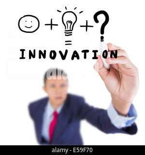 Konzept-Geschäft gezeichnet, was nötig ist zu Mensch und Idee für Innovation auf über Whiteboard weißen Hintergrund - Stockfoto