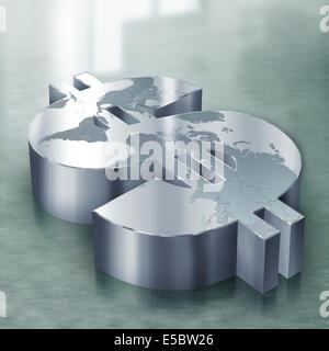 Anschauliches Bild des Dollar-Symbol mit Weltkarte, Welthandels darstellt - Stockfoto