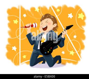 Anschauliches Bild eines jungen mit Gitarre Rock Musik vertreten Traum - Stockfoto