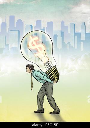 Anschaulichen Bild der Geschäftsmann mit Glühbirne mit Dollarsymbol für profit Stockfoto