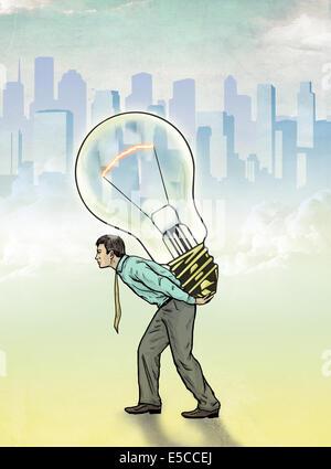 Anschauliches Bild der Geschäftsmann mit Glühbirne, Innovation darstellt Stockfoto
