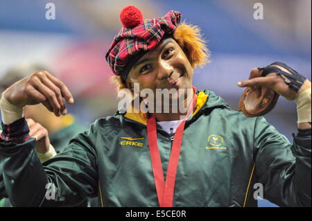 Glasgow, Schottland. 27. Juli 2014.  Südafrika sind ihre Goldmedaille in der 7er Rugby bei den Glasgow 2014 Commonwealth - Stockfoto