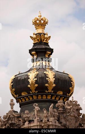 Crown Gate des Zwingers in Dresden, Sachsen, Deutschland, Europa - Stockfoto
