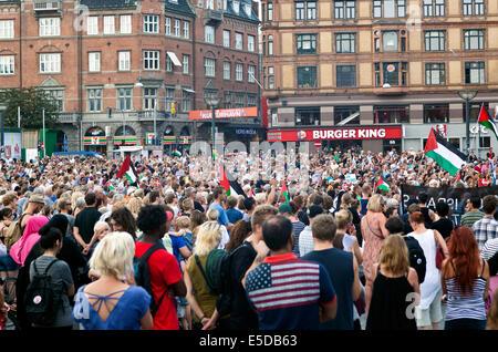 Kopenhagen, Dänemark. 28. Juli 2014. Einige 4-5000 Leute versammeln sich am Copenhagen Rathausplatz heute Nachmittag - Stockfoto
