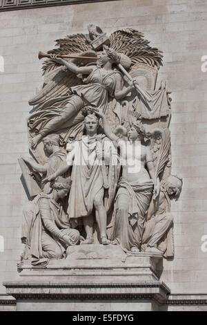 Frankreich, Region Île-de-France, Paris 8e arrondissement, Place Charles de Gaulle, de l'Etoile, Arc de Triomphe, - Stockfoto